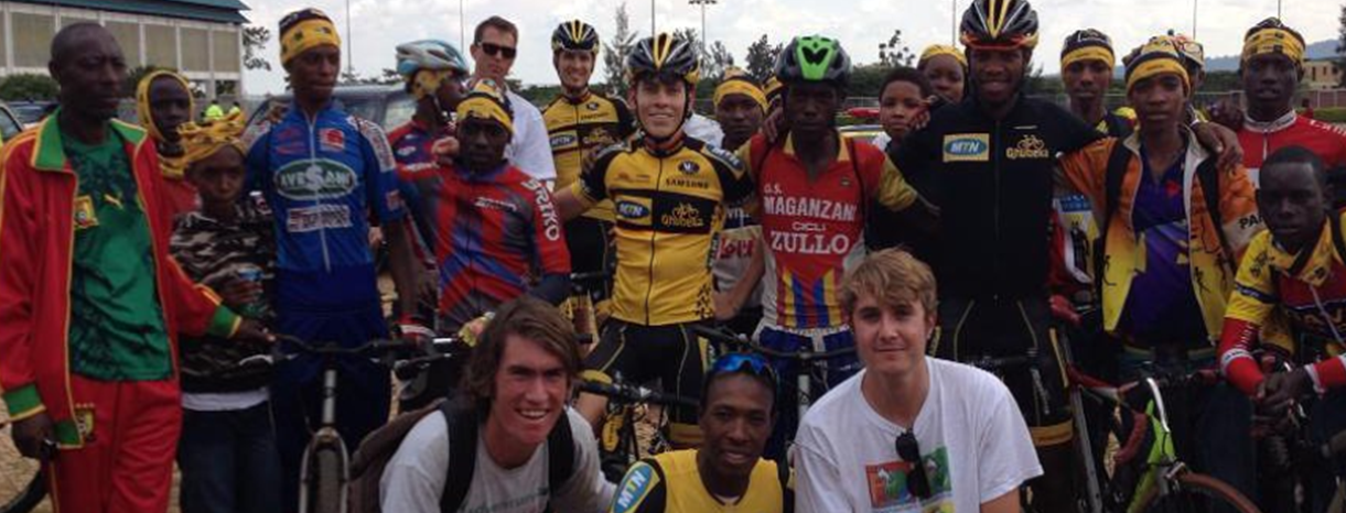 Adrien Niyonshuti and teammates from Team MTN-Qhubeka p/b Samsung meet some of the members of the Adrien Niyonshuti Cycling Academy in Rwanda.