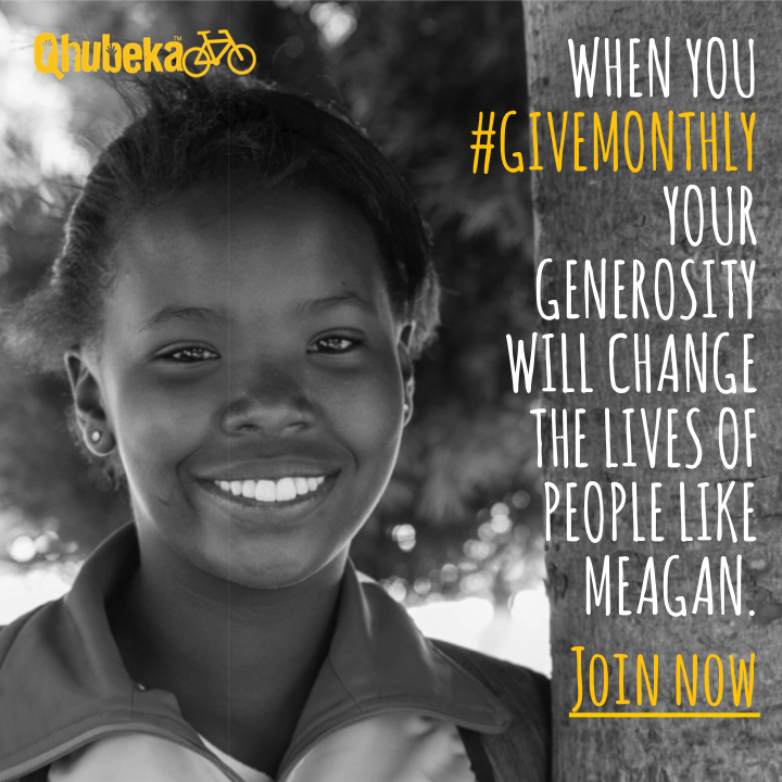 Join #GiveMonthly to fund Qhubeka Bicycles
