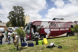 We drove there in PSL team Moroka Swallows' bus