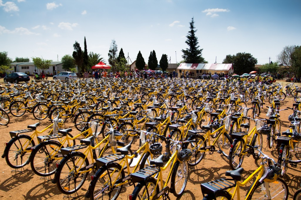 Qhubeka Buffalo Bikes waiting for their new owners