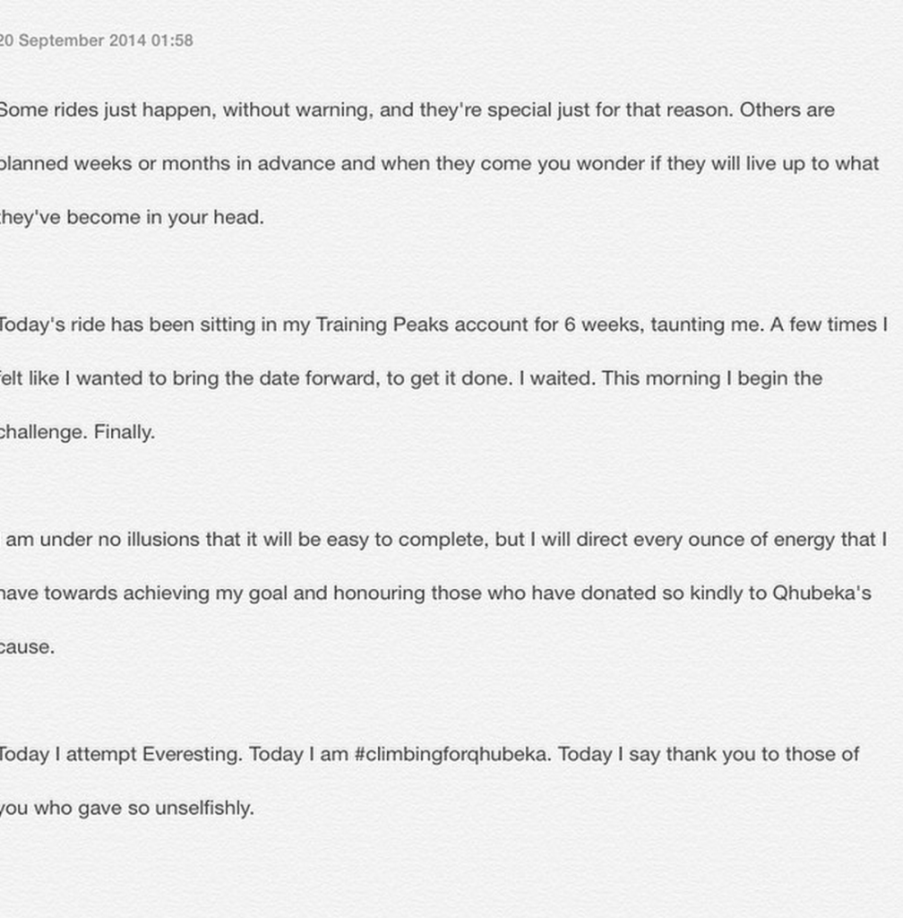 Two hours to go: Last couple of hours before #everesting. Thoughts are exploding in my head. So I wrote them down.