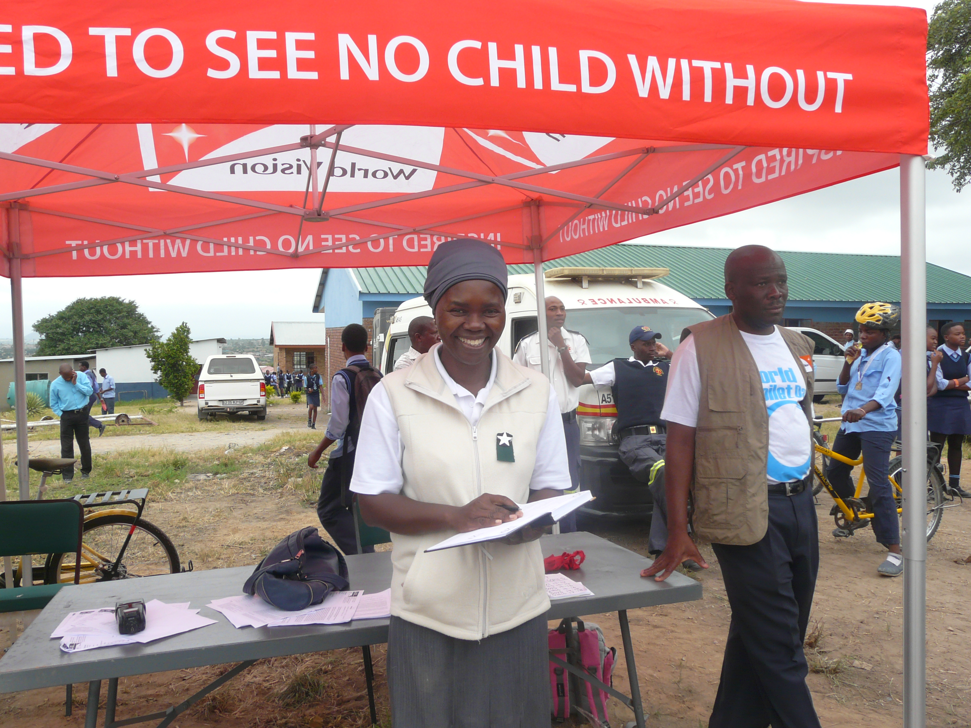 Grace from World Vision,CSA Community Cycling Series, recording winners, Limpopo