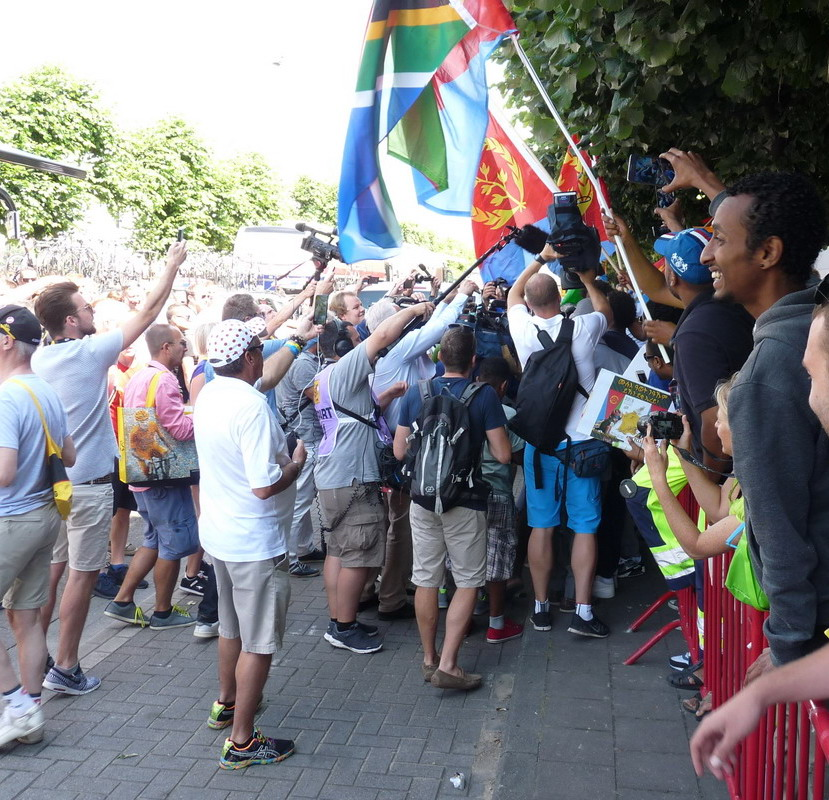 TdF - Antwerp 06.07.2015 - The Erithrean fans overwhelmed their big hero Merhawi Kudus
