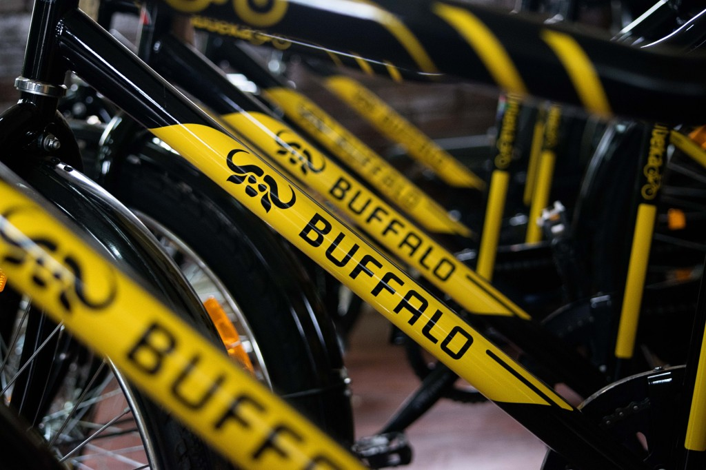 Rows of shiny new Qhubeka Buffalo Bicycles stand ready for their recipients.
