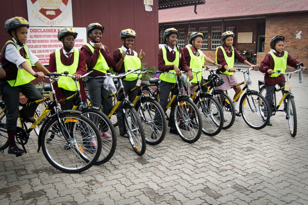 A quick group shot at the school before learners ride home after the distribution ceremony.