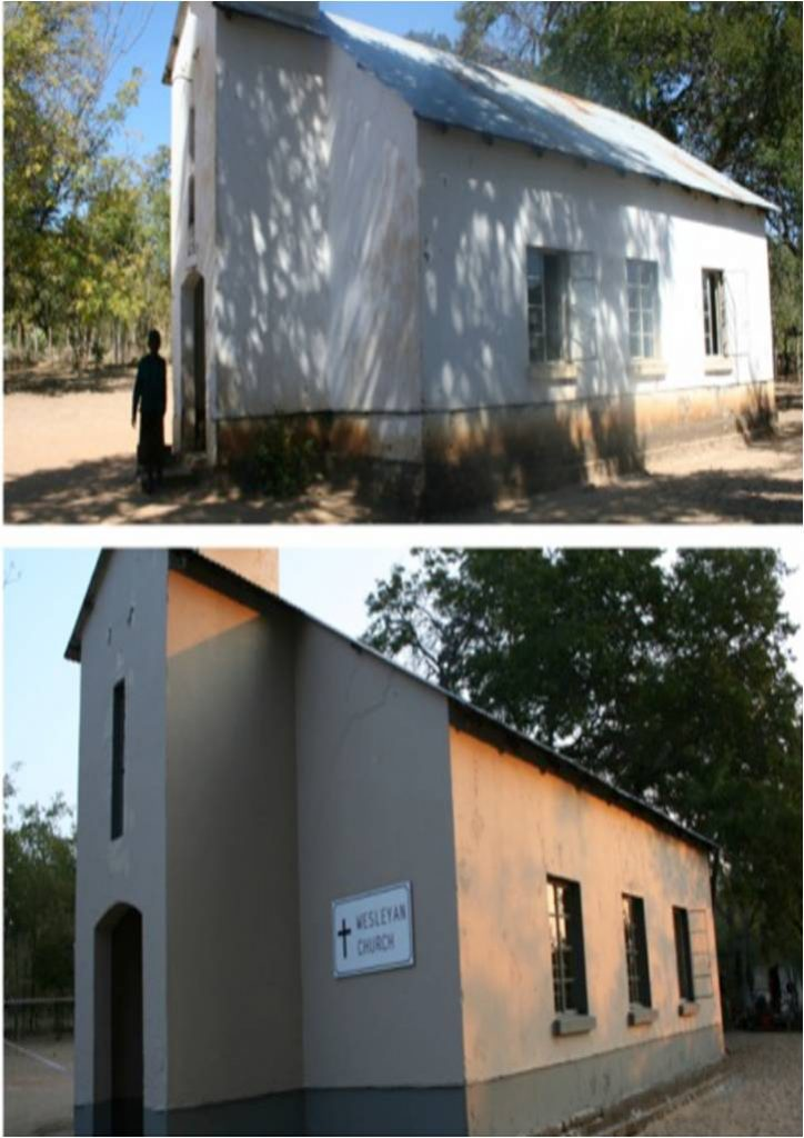 The church, before and after (exterior).